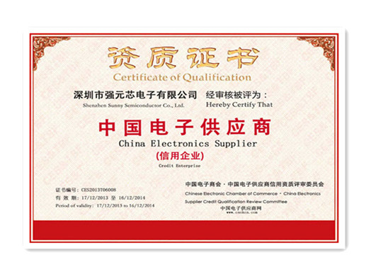 Certificate of Credit Enterprise for China Electronic Supplier